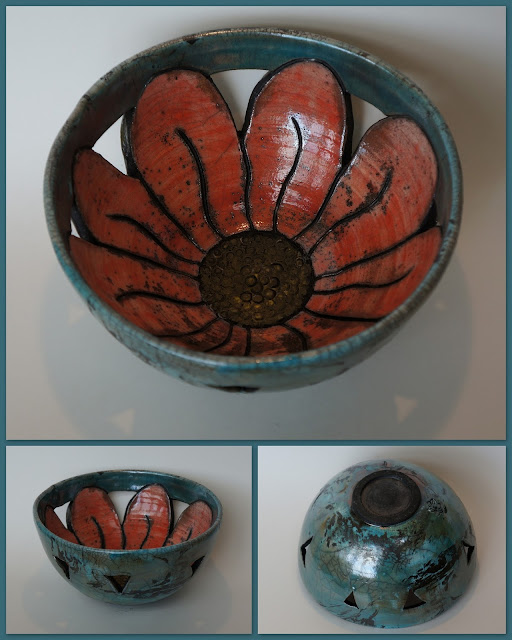 Floral raku-fired ceramic / pottery bowl by Lily L.