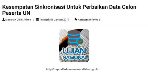 Sinkronisasi Dapodik Untuk Perbaikan Data Calon Peserta UN 2017