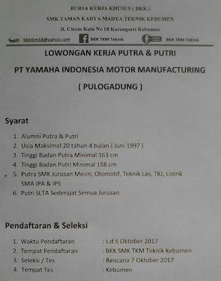 Lowongan via BKK PT Yamaha Indonesia Motor Manufacturing