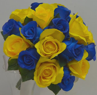 yellow and blue silk bridal bouquets