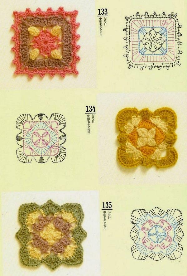Motivos quadrados (squares) de Crochê Com Gráfico 20