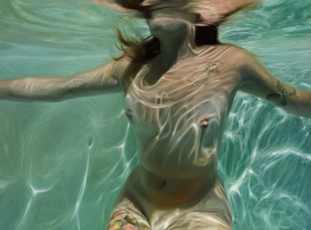 Reisha Perlmutter pinturas mulheres nuas subaquáticas água realista