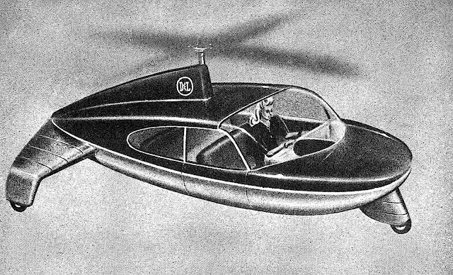 1947 flying flying helicar illustration