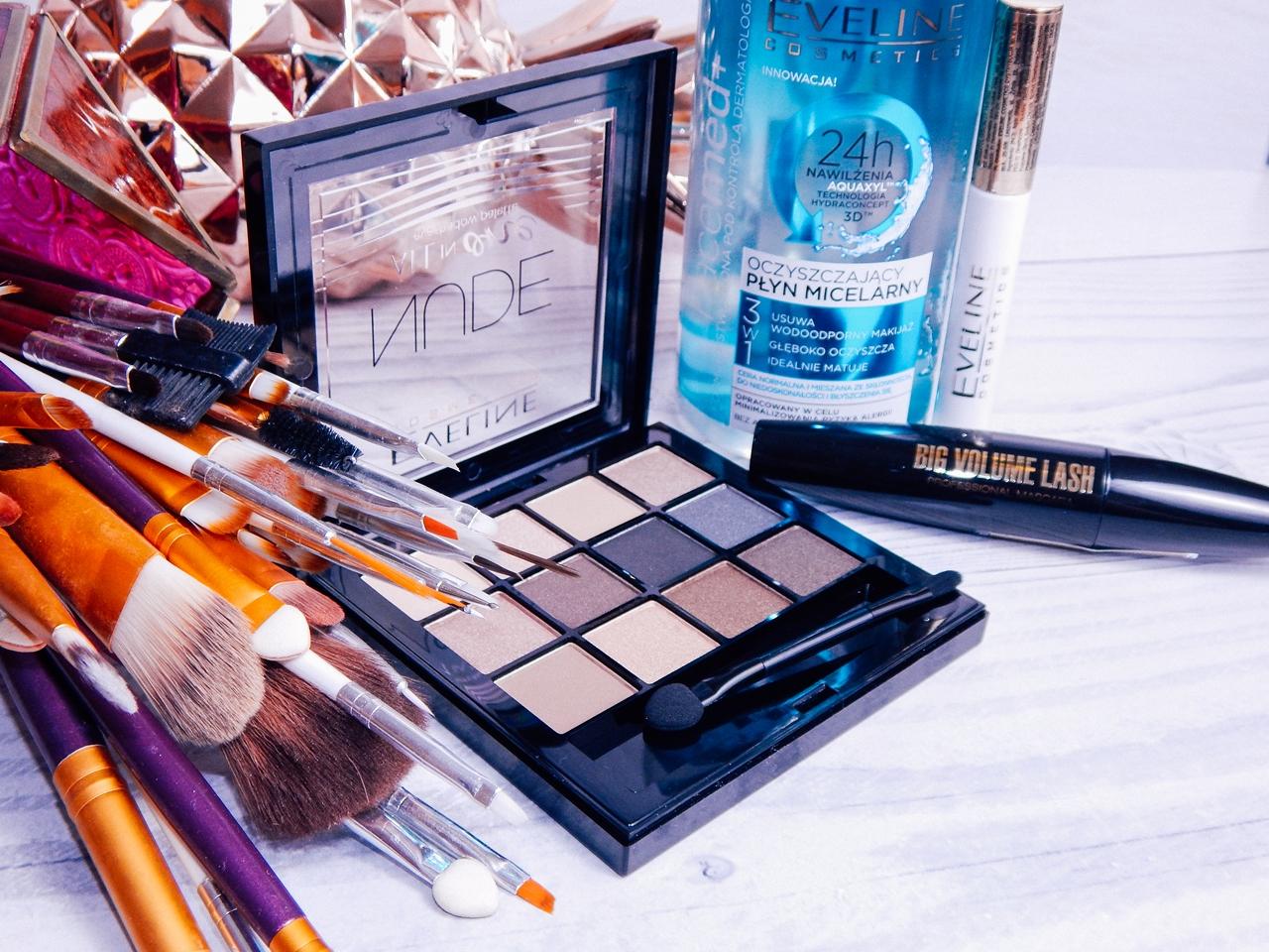 1 eveline cosmetics nude all in one eyeshadow palette melodylaniella recenzja cienie do powiek paletka cieni mascara big volume lash eye shadow base baza pod cienie oczyszczający płyn micelarny test