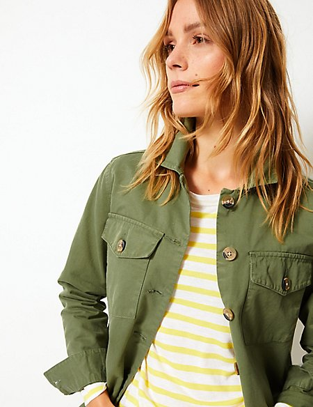 marks and spencer pure cotton patch pocket military shacket