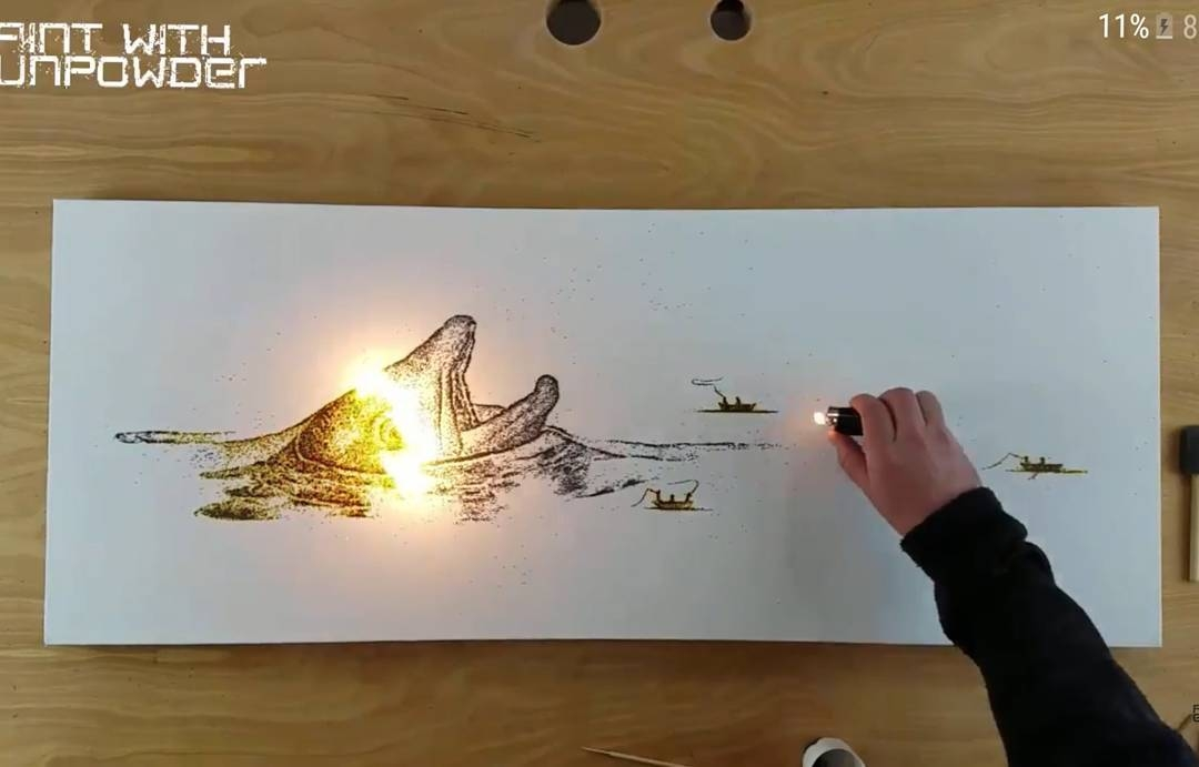 11-Dolphin-Danny-Sherving-Paint-with-Gunpowder-and-then-set-it-on-Fire-www-designstack-co