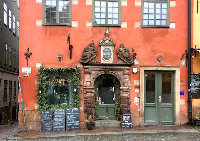 Gamla Stan - cute coffee shop front in old town Stockholm