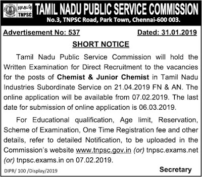 TNPSC Chemist and Junior Chemist  Post Recruitment Notification 31.1.2019