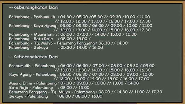 Jadwal Damri Palembang Muara Enim 2019-2020
