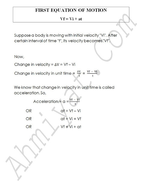 FIRST EQUATION OF MOTION   Vf = Vi + at