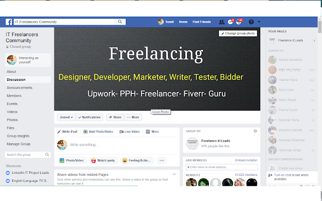 IT Freelancer Community facebook group screenshot