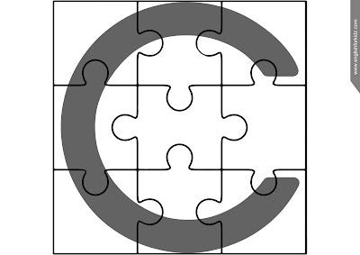 English alphabet puzzle, jigsaw puzzle, upper-case alphabetic lineament missive C
