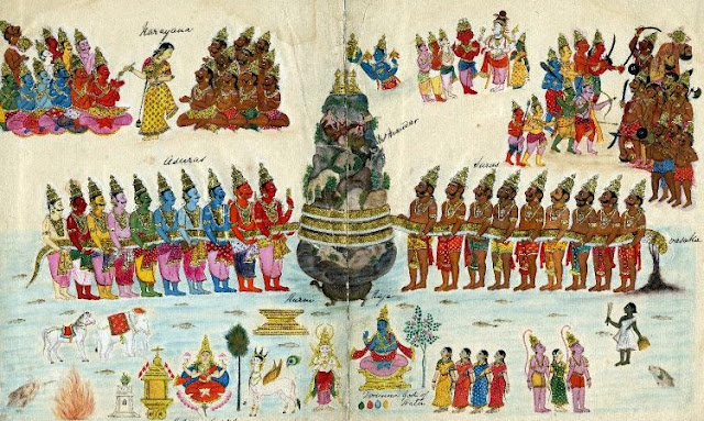 Churning of the Milky Ocean (Samudra Manthan) supported by Kurma [the Turtle], showing Vishnu recovering Amrita and Mohini distributing it to the Gods.