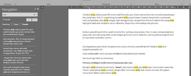 Cara Mencari/Mengganti Kata Secara Otomatis Pada Microsoft Word