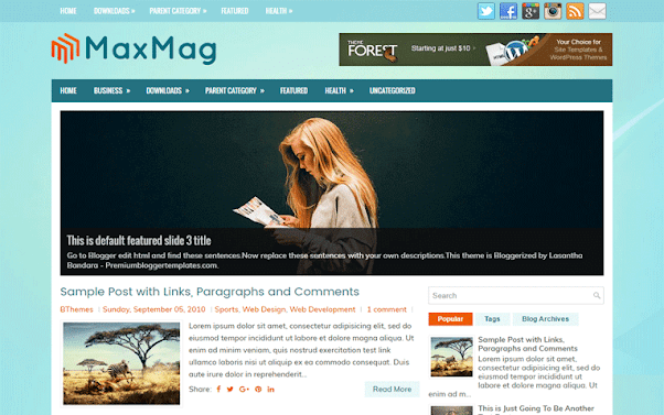 MaxMag Free Blogger Template