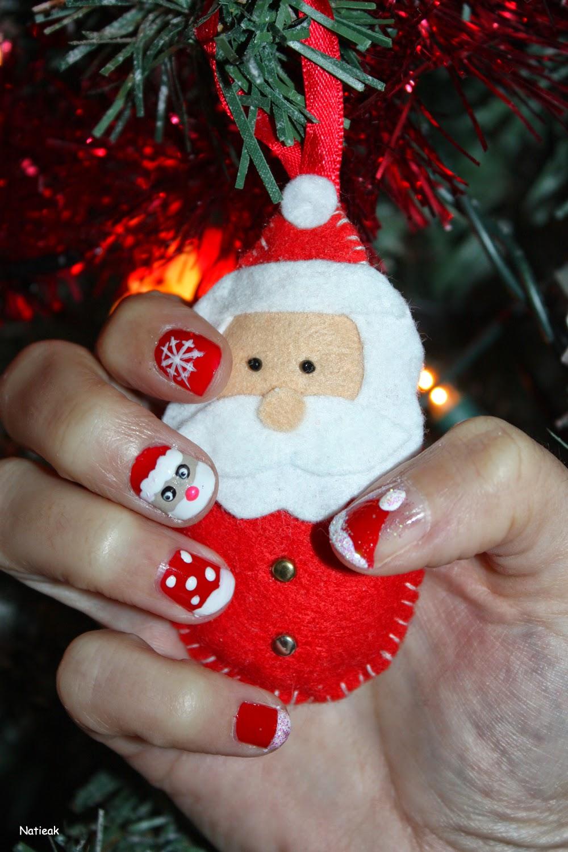Père Noël feutrine Défi Nail art avec Marron Chantilly