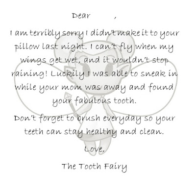 Tooth Fairy Apology Note