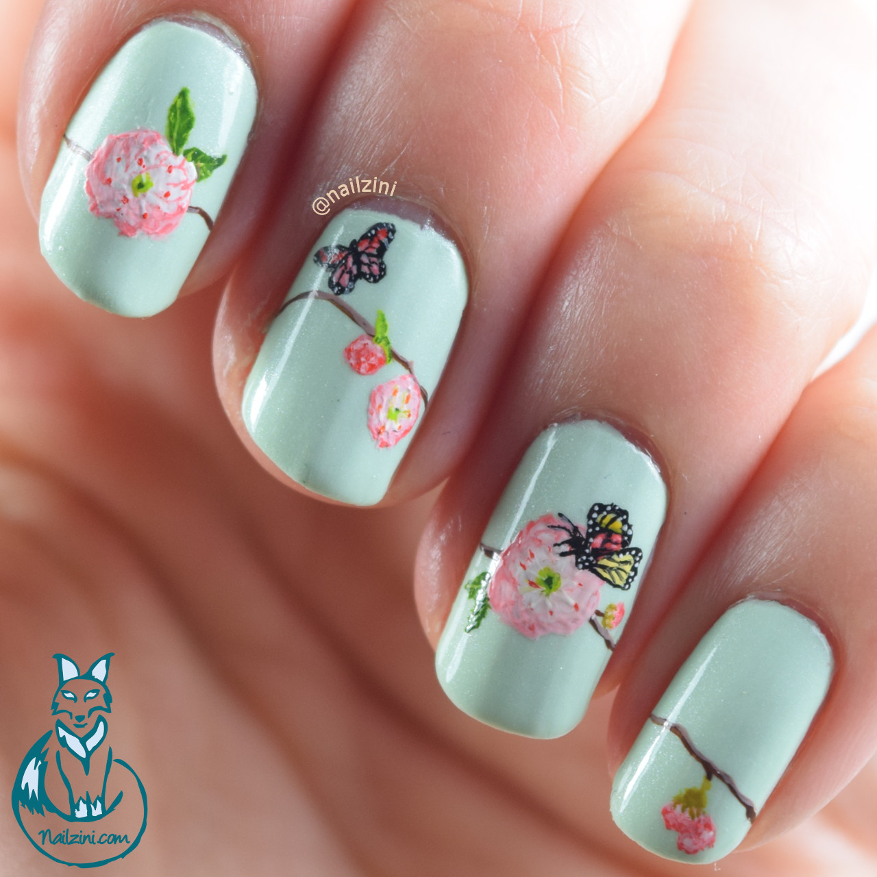 Spring flower nail art nailzini a nail art blog spring flower nail art mightylinksfo