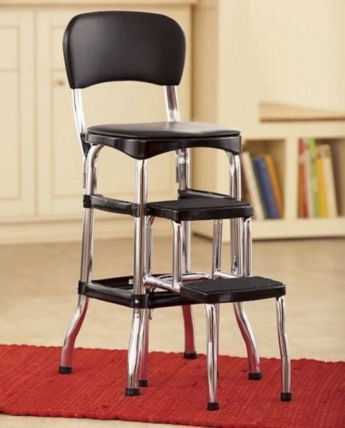 New Cosco Retro Counter Chair Step Stool Chrome Finish