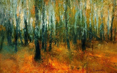 Coloridas pinturas al óleo.