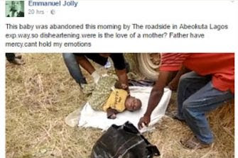 Mtchwww : A baby abandoned at a road side along Lagos Abeokuta road.