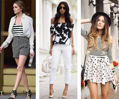3 looks em preto e branco apenas: Calções aos quadrados, t-shirt às riscas e camisa às bolinhas | Calças brancas e blusa com ombros à mostra floral | Saia floral, camisola às riscas e Casaco às bolinhas.