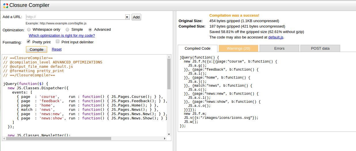 Tối ưu hóa Javascript với Google Closure Compiler - Tôi là Duyệt