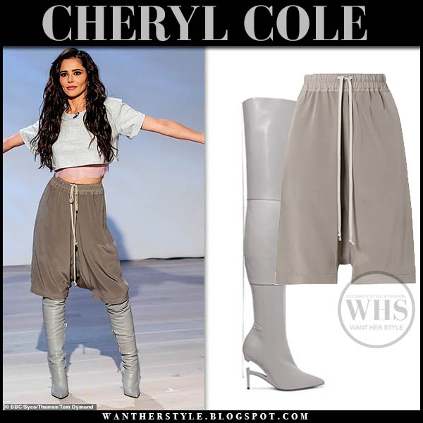 Cheryl Cole in grey top, brown rick owens silk shorts and grey unravel boots the greatest dancer fashion 2019