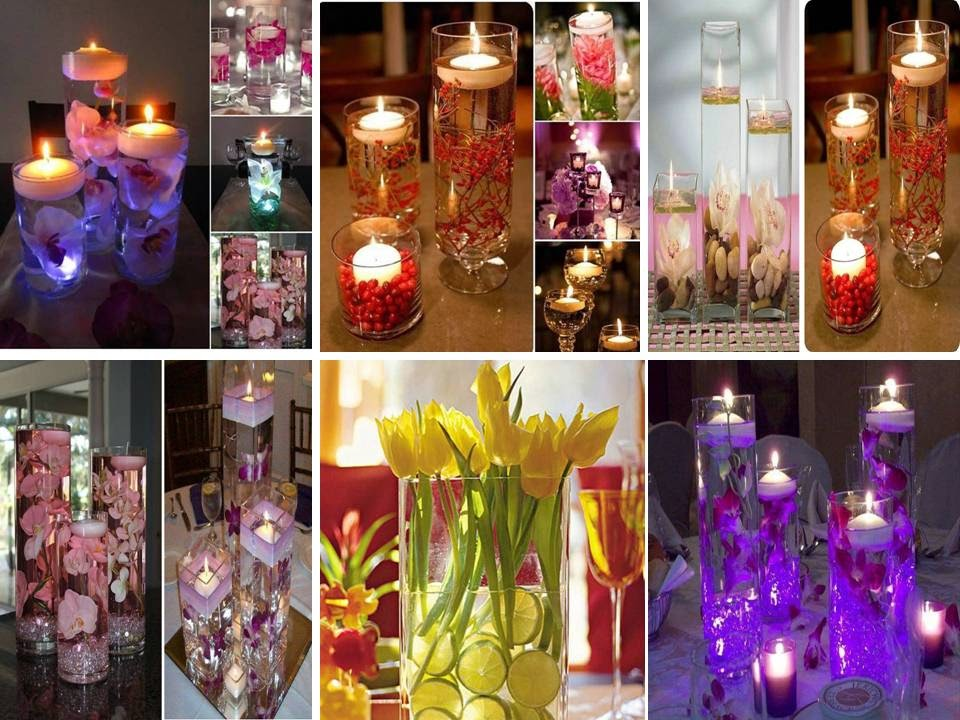 Home Decor: Romantic Floating water Candles with flowers
