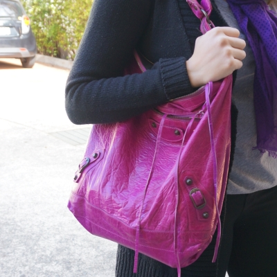 Black cardi jeans, grey tee, Balenciaga Day bag in 2005 magenta | AwayFromTheBlue
