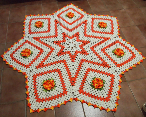 Crochet Star Carpet (With Flowers) - Tutorial