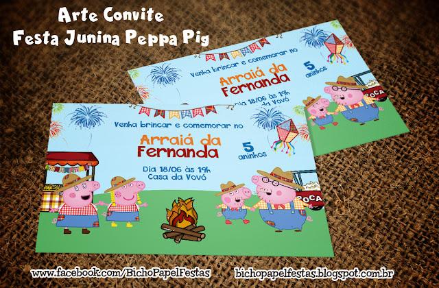 Arte Convite Festa Junina arraiá Peppa Pig