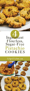 Four-Ingredient Flourless, Sugar-Free Pistachio Cookies found on KalynsKitchen.com