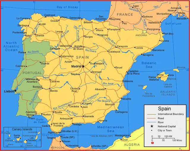 Gambar Peta Spanyol