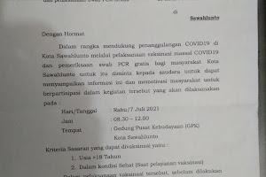 """Vaksinasi massal COVID-19 dan Swab PCR.. """"GRATIS"""".. bagi masyarakat Kota Sawahlunto"""