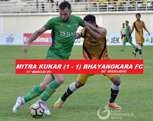 Imbang Lawan Mitra Kukar, Bhayangkara FC Puncaki Klasemen