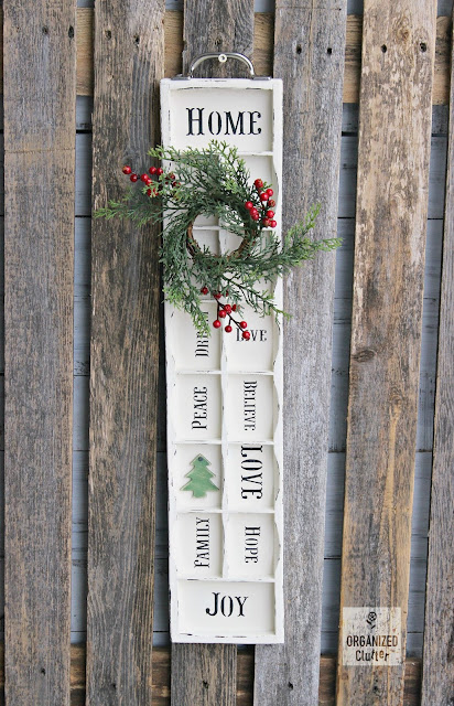 Goodwill Faux Printer Tray/Drawer to Farmhouse Christmas Decor www.organizedclutter.net