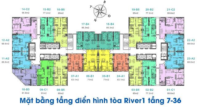 Mặt bằng tòa River1 tầng 7-36 chung cư EuroWindow River Park