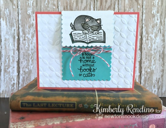Cat and Book Card with bookmark by Kimberly Rendino | Newton's Book Club Stamp set by Newton's Nook Designs #newtonsnook