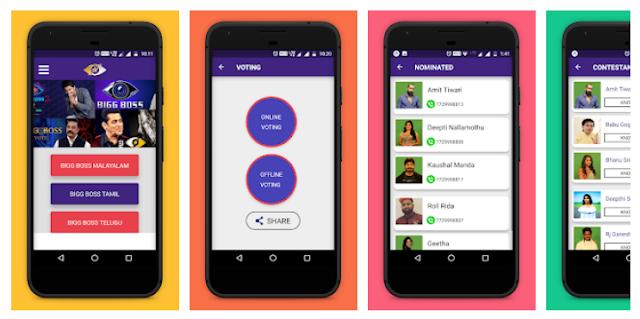 Bigg Boss 12 Voting Mobile App for Telugu, Tamil, Malayalam Big Boss series