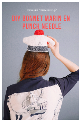DIY bonnet marin avec la punch needle DMC