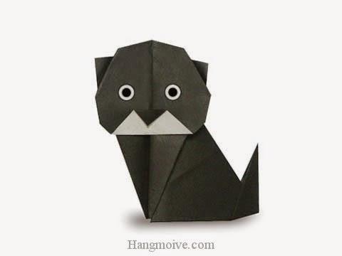 Cách gấp, xếp con Mèo Đen bằng giấy origami - Video hướng dẫn xếp hình - How to make a Black Cat