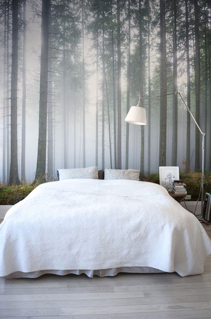 skog tapet sovrum fototapet dimma trädstammar skogstapet