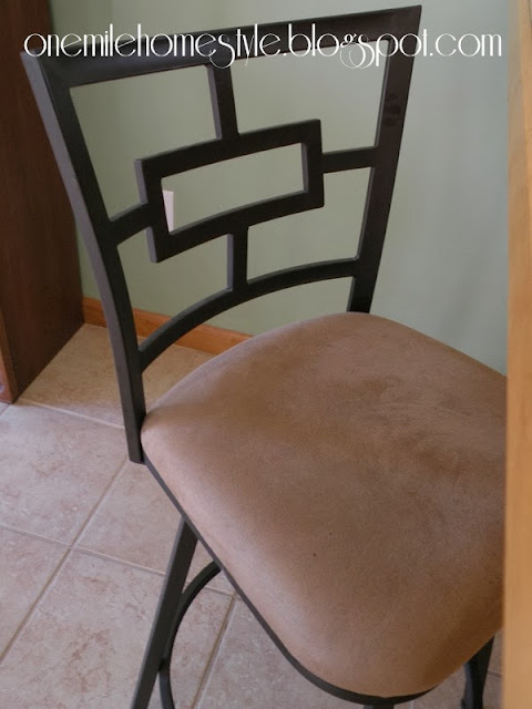 Bar stool with suede seat - before