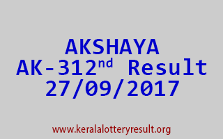 AKSHAYA Lottery AK 312 Results 27-9-2017
