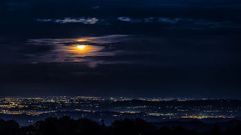 Night, City, View, Scenery, Moon, Clouds, 4K, #4.1934