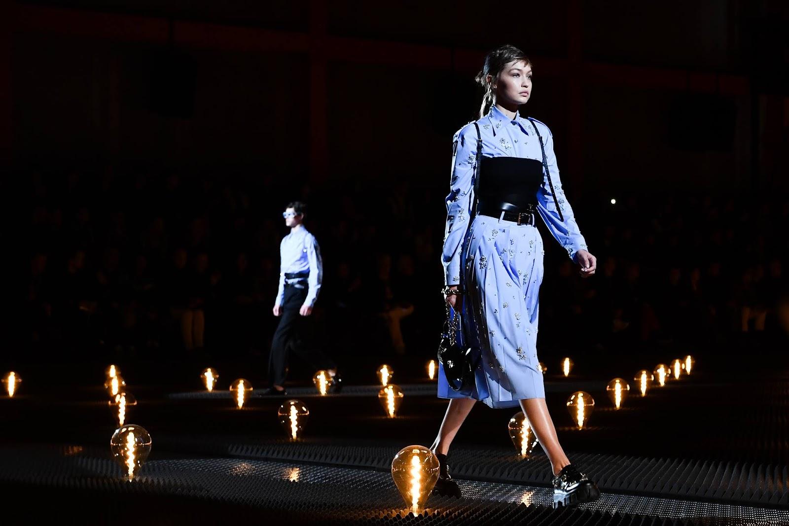 Gigi Hadid - walks the runway at the Prada show during Milan Menswear Fashion Week Autumn/Winter 2019/20 on January 13, 2019 in Milan, Italy