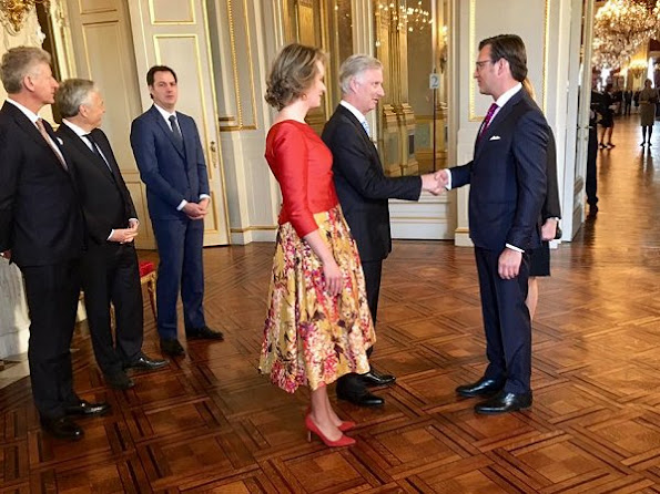 Queen Mathilde wore Natan floral print skirt, Natan pink blouse, gianvito rossi pumps, gold diamond earrings
