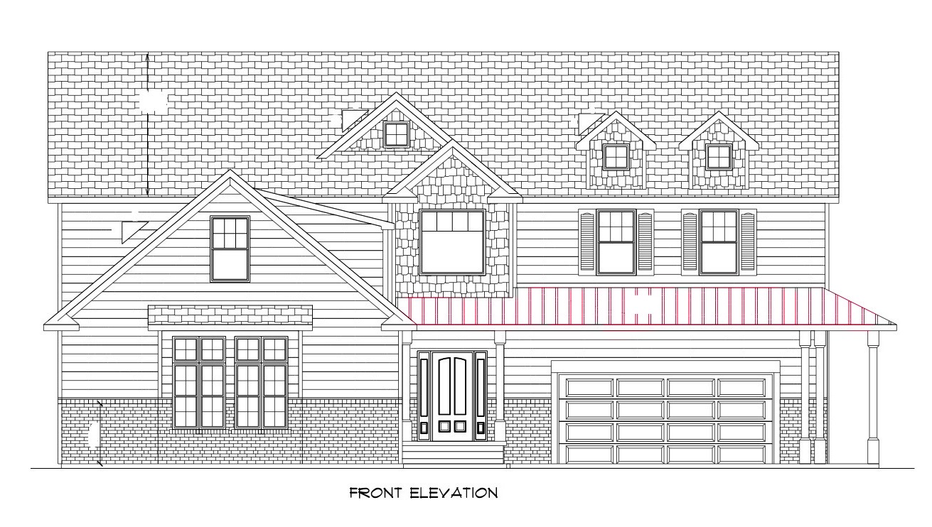 Front Elevation Oblique Drawing : The concrete cottage march