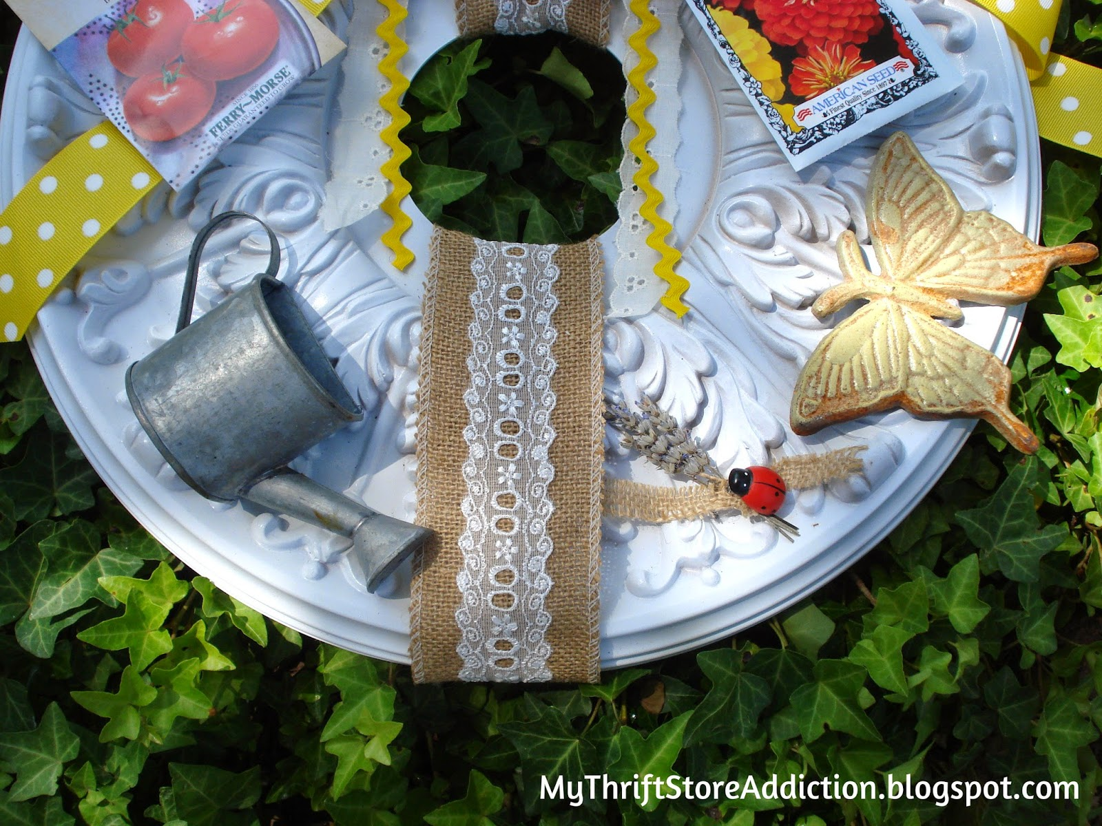 Repurposed ceiling medallion wreath